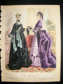 .Fashion Print: 1874 hand colored Le Follet #1014